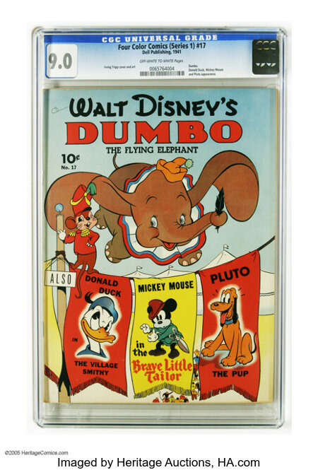 Four Color (Series One) #17 Dumbo (Dell, 1941) CGC VF/NM 9.0 Off-white to white pages. This is the first comic book devoted ...