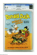 Golden Age (1938-1955):Cartoon Character, Four Color #9 Donald Duck Finds Pirate Gold! (Dell, 1942) CGC VF 8.0 Off-white to white pages. Carl Barks began his long car...