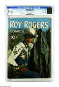 Golden Age (1938-1955):Western, Four Color #38 Roy Rogers - Crowley Copy pedigree (Dell, 1944) CGCVF/NM 9.0 Cream to off-white pages. Here's the first comi...