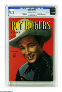 Four Color #63 Roy Rogers - Crowley Copy pedigree (Dell, 1945) CGC NM- 9.2 Cream to off-white pages. Cowboy superstar Ro...