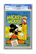 Golden Age (1938-1955):Cartoon Character, Four Color #79 Mickey Mouse in the Riddle of the Red Hat (Dell, 1945) CGC FN/VF 7.0 Cream to off-white pages. It's the only ...