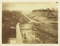 Military & Patriotic:Civil War, CLOSE UP VIEW OF LOCK & CANAL, WITH MILITARY ENCAMPMENT 1863....