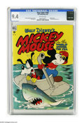 "Golden Age (1938-1955):Cartoon Character, Four Color #194 Mickey Mouse in ""The World Under the Sea"" (Dell,1948) CGC NM 9.4 Off-white pages. Mickey and Goofy take to ..."