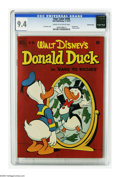 "Golden Age (1938-1955):Funny Animal, Four Color #356 Donald Duck in ""Rags to Riches"" - Crowley Copypedigree (Dell, 1951) CGC NM 9.4 Cream to off-white pages. A ..."