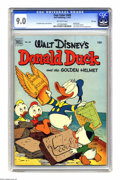 "Golden Age (1938-1955):Funny Animal, Four Color #408 Donald Duck and ""The Golden Helmet"" - File Copy (Dell, 1952) CGC VF/NM 9.0 Off-white pages. Writer/artist Ca..."
