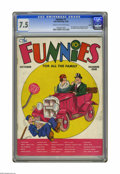 Platinum Age (1897-1937):Miscellaneous, The Funnies #1 Larson pedigree (Dell, 1936) CGC VF- 7.5 Cream tooff-white pages. This first book features many classic cart...