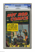 "Golden Age (1938-1955):Miscellaneous, Hot Rod Comics #3 Crowley Copy pedigree (Fawcett, 1952) CGC NM 9.4 Off-white pages. This comic promises to provide ""the stra..."