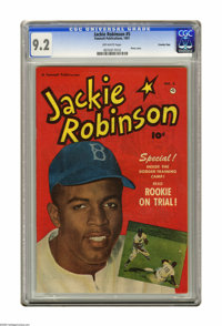 "Jackie Robinson #5 Crowley Copy pedigree (Fawcett, 1951) CGC NM- 9.2 Off-white pages. Oh, for the days when ""Da Bum..."