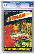 Golden Age (1938-1955):Horror, Jetman #29 Canadian Edition (Bell Features, 1951) CGC VF- 7.5Off-white to white pages. This unusual Canadian comic features...