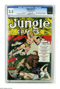 Jungle Comics #1 (Fiction House, 1940) CGC VG- 3.5 Off-white pages. One of the classic first issues put out by Fiction H...