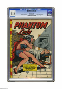 "Phantom Lady #15 (Fox Features Syndicate, 1947) CGC VF+ 8.5 Off-white pages. Matt Baker created another ""headlights..."