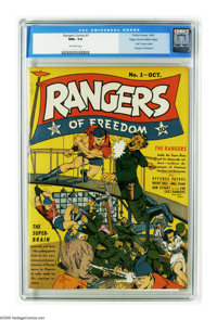 Rangers Comics #1 Mile High pedigree (Fiction House, 1941) CGC NM+ 9.6 Off-white pages. The cover colors of this Mile Hi...