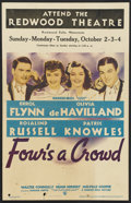 "Movie Posters:Comedy, Four's a Crowd (Warner Brothers, 1938). Window Card (14"" X 22""). Comedy. ..."