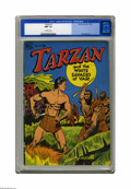 Golden Age (1938-1955):Miscellaneous, Tarzan #1 (Dell, 1948) CGC NM- 9.2 Off-white pages. Here's the start of a run that took the Lord of the Jungle through 258 i...
