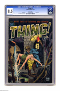 Golden Age (1938-1955):Horror, The Thing! #9 (Charlton, 1953) CGC VF+ 8.5 White pages. This bit ofpre-Code Charlton creepiness hadn't ever passed through ...