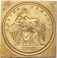 Modern Brass Embossing Die for Amazonian Obverse Design....(PCGS# 61466)