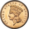 Three Dollar Gold Pieces, 1866 $3 MS63 PCGS....