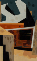 Impressionism & Modernism:Cubism, Niles Spencer (American, 1893-1952). In Fairmont, WestVirginia, 1951. Oil on canvas. 24 x 15 inches (61 x 38.1 cm).Bea...