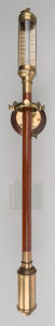 Decorative Arts, Continental, A Mahogany and Brass Ship's Stick Barometer, 20th century. Marks:J.J. B.L.M., 16 22, R.N. Desterro, LISBON. 37 inches ...