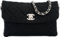 "Luxury Accessories:Bags, Chanel Black Quilted Wool Shoulder Bag. Pristine Condition.7"" Width x 4.5"" Height x 1"" Depth. ..."