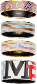 "Luxury Accessories:Accessories, Hermes Set of Four; Pink & Blue Enamel Printed Bracelets.Very Good Condition. 0.5"" Width x 8.25"" Length.0.5"" Wid... (Total: 4 )"