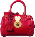 "Luxury Accessories:Bags, Ralph Lauren Red Lizard Mini Ricky Doctor Bag. ExcellentCondition. 7.5"" Width x 5"" Height x 4.5"" Depth. ..."