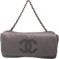 """Luxury Accessories:Bags, Chanel Gray Lambskin Leather Flap Bag. Excellent to PristineCondition. 12"""" Width x 6.5"""" Height x 3"""" Depth. ..."""