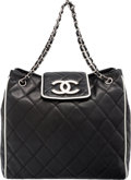 "Luxury Accessories:Bags, Chanel Black & White Quilted Lambskin Leather Tote Bag. VeryGood Condition. 12"" Width x 11"" Height x 6.5"" Depth. ..."