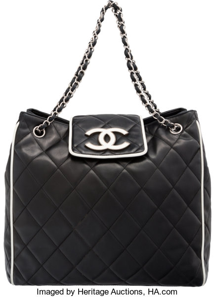 6238d24ee210 Luxury Accessories:Bags, Chanel Black & White Quilted Lambskin Leather  Tote Bag.