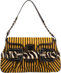 "Luxury Accessories:Bags, Fendi Yellow & Black Striped Ponyhair Shoulder Bag. VeryGood Condition. 13"" Width x 8"" Height x 3"" Depth. ..."