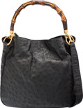 "Luxury Accessories:Bags, Gucci Black Ostrich & Bamboo Diana Bag. Very Good Condition.11"" Width x 10"" Height x 3"" Depth. ..."