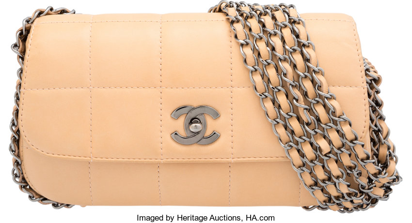 d61809fa4d7b0f Very Goodto; Luxury Accessories:Bags, Chanel Beige Square Quilted Lambskin  Leather Flap Bag.