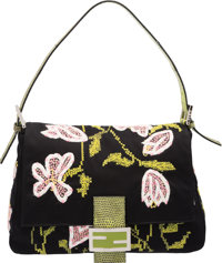 "Fendi Black Embroidered Satin & Green Lizard Mama Baguette Bag Excellent Condition 11"" Width x 8"" Height x..."