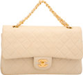 "Luxury Accessories:Bags, Chanel Beige Quilted Lambskin Leather Double Flap Bag. Good toVery Good Condition. 10"" Width x 6"" Height x 2.5"" Depth. ..."