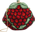 """Luxury Accessories:Bags, Judith Leiber Full Bead Red & Green Crystal Grapes MinaudiereEvening Bag. Good Condition. 5.5"""" Width x 5"""" Height x2""""..."""