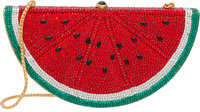 Judith Leiber Full Bead Red & Green Crystal Watermelon Minaudiere Evening Bag Very Good Condition