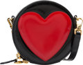 """Luxury Accessories:Bags, Moschino Red & Black Patent Leather Heart Bag. Very GoodCondition. 5"""" Width x 5"""" Height x 2"""" Depth. ..."""