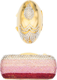 """Judith Leiber Set of Two; Pink & Silver Crystal Pill Boxes Very Good to Excellent Condition 2.5"""""""