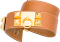 "Luxury Accessories:Accessories, Hermes 70cm Gold Courchevel Leather Collier de Chien Belt with GoldHardware. Very Good Condition. 1.5"" Width x 27.5"" ..."