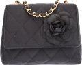 "Luxury Accessories:Bags, Chanel Black Quilted Satin Camelia Shoulder Bag. Very GoodCondition. 5.5"" Width x 4.5"" Height x 2.5"" Depth. ..."