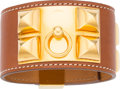 """Luxury Accessories:Accessories, Hermes Fauve Barenia Leather Collier de Chien PM Bracelet with GoldHardware. M Square, 2009. Very Good Condition. 1.5"""" Wi..."""