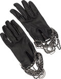 Luxury Accessories:Accessories, Chanel Black Lambskin Chain Gloves. Very Good to Excellent Condition. Size 7. ... (Total: 2 Items)
