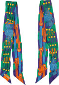"""Luxury Accessories:Accessories, Hermes Set of Two; Blue & Orange Silk Twilly Scarves. VeryGood Condition. 2"""" Width x 34"""" Length. ... (Total: 2 )"""