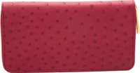 "Louis Vuitton Red Ostrich Zippy Wallet Pristine Condition 7.5"" Width x 4"" Height x 1"" Depth</"