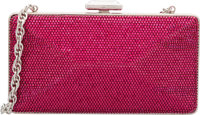 """Judith Leiber Full Bead Pink Crystal Minaudiere Evening Bag Pristine Condition 7"""" Width x 4"""" Heig"""
