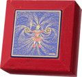 "Luxury Accessories:Home, Hermes Rouge Vif Chevre Leather & Blue Enamel Jewelry Box.Good to Very Good Condition. 3.5"" Width x 1.5"" Height x 3.5""De..."