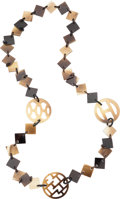 "Luxury Accessories:Accessories, Hermes Natural Lacquered Buffalo Horn Deva Necklace. ExcellentCondition. 1.5"" Width x 28"" Length. ..."