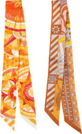 "Luxury Accessories:Accessories, Hermes Set of Two; Orange Silk Twilly Scarves. PristineCondition. 2"" Width x 34"" Length. ... (Total: 2 )"