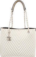 "Luxury Accessories:Bags, Chanel White Chevron Perforated Leather Tote Bag. ExcellentCondition. 13"" Width x 9"" Height x 5"" Depth. ..."