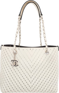 """Chanel White Chevron Perforated Leather Tote Bag Excellent Condition 13"""" Width x 9"""" Height x 5"""" D"""